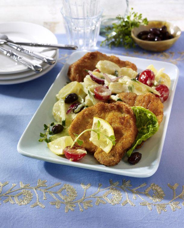 Unser beliebtes Rezept für Gyrosschnitzel auf Tsatsiki-Kartoffelsalat und mehr als 55.000 weitere kostenlose Rezepte auf LECKER.de.