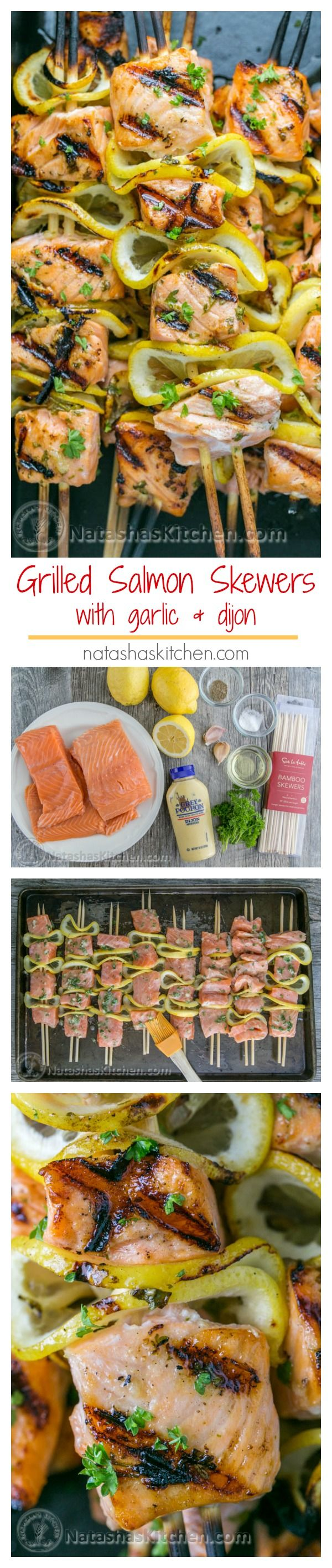 Easy grilled salmon skewers with garlic & dijon. Juicy with incredible flavor & takes less than 30 minutes ~ KEEPER! | natashaskitchen.com #salmonskewers #salmonrecipes #grilledsalmon #salmon #bbqsalmon #easysalmon #lemonsalmon #dijonsalmon #garlicsalmon #bestsalmonrecipes #bbq