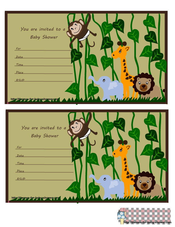 safari theme cards | jungle themed baby shower invitations set ...