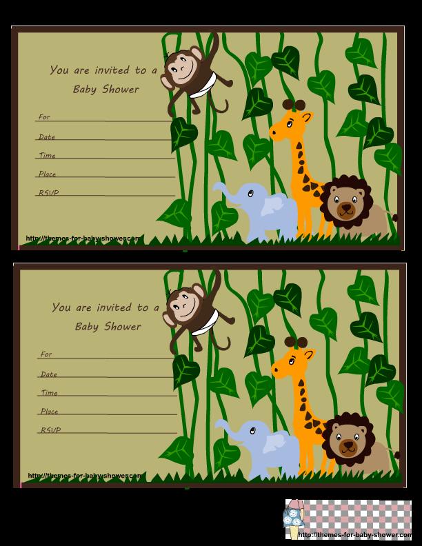 safari theme cards  jungle themed baby shower invitations set, Baby shower invitation