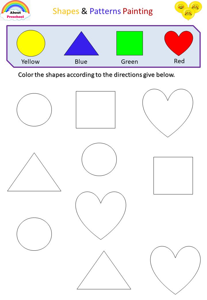 Painting Shapes - Preschool Shapes Preschool, Shape Activities Preschool,  Shapes Activities