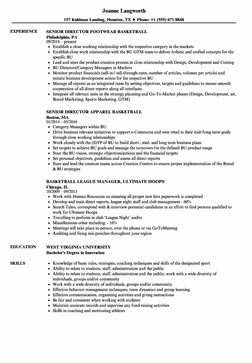 50 new basketball resume template for player in 2020