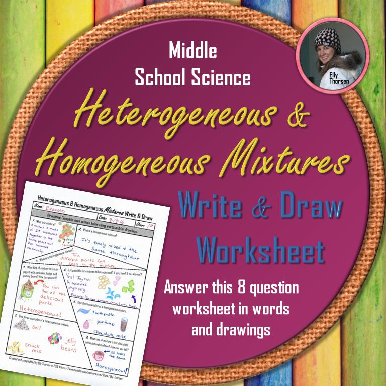 Heterogeneous and Homogeneous Mixtures Write and Draw Worksheet ...