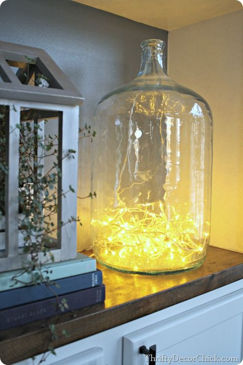 Christmas lights in jar. Magical, easy Christmas decorating ideas.