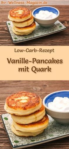 Low Carb Vanille-Pancakes mit Quark - süßes Pfannkuchen-Rezept #nocarbdiets