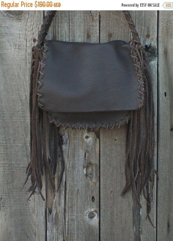ON SALE Brown shoulder bag with fringes  Soft brown by thunderrose