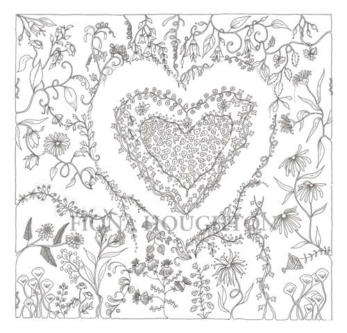 Inky heart drawing. Zen tangle like colouring in