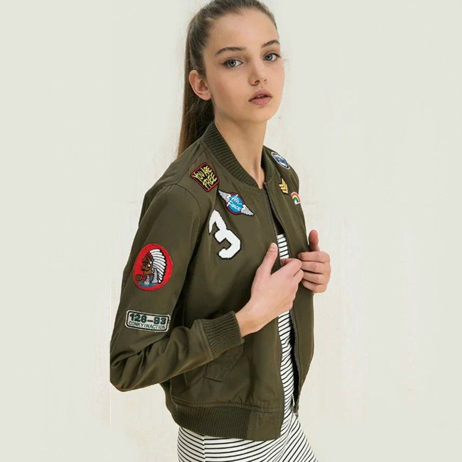 Women Hipster Fashion Army Green Bomber Jacket Embroidered Bomber Jacket Casual Outerwear [ 900 x 900 Pixel ]