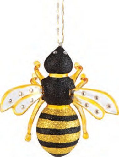 Gallerie II Glass Bumble Bee Hives Nest Yellow Black Fuzzy Nectar Flowers Christmas Tree Ornament