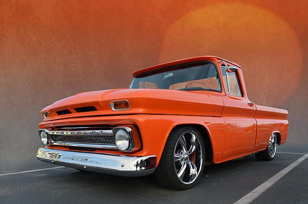 1962 Chevrolet C10 Pickup With Orange Paint Job Really Clean Example Seen At The Temecula Rod Run California