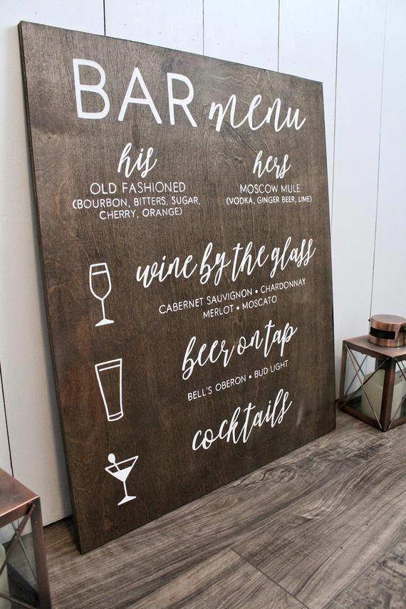 Bar Menu Sign  Wedding Bar Menu  Bar Menu  Rustic Wedding  | Etsy