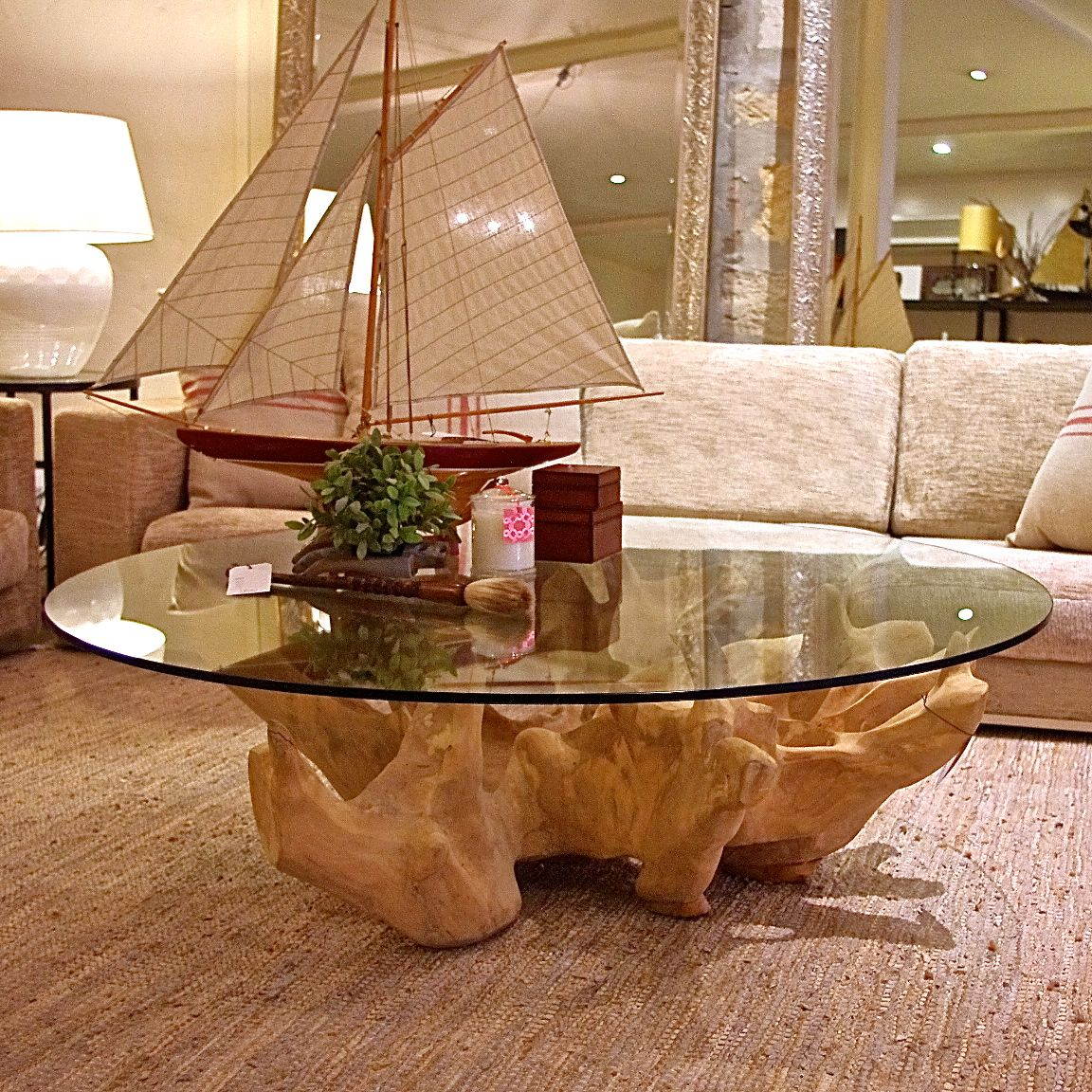 glass coffee table with tree base