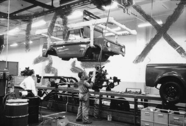 International Scout Body Being Lowered Onto Chassis