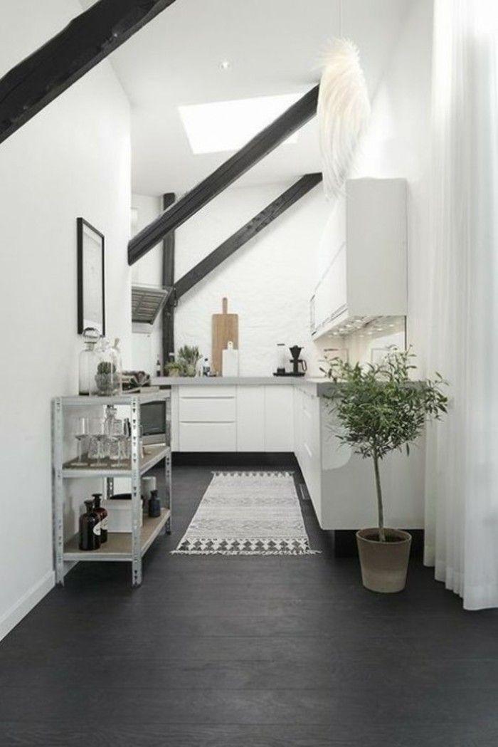 Dachgeschosswohnung Kücheneinrichtung Dachschräge Deko Ideen Küche46