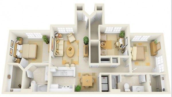 cheap 3 bedroom house plans 100 thit k phng ng p Pinterest