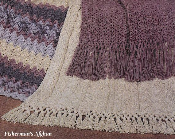 Americas Favorite Afghan Patterns Fisherman Knit Crocheted