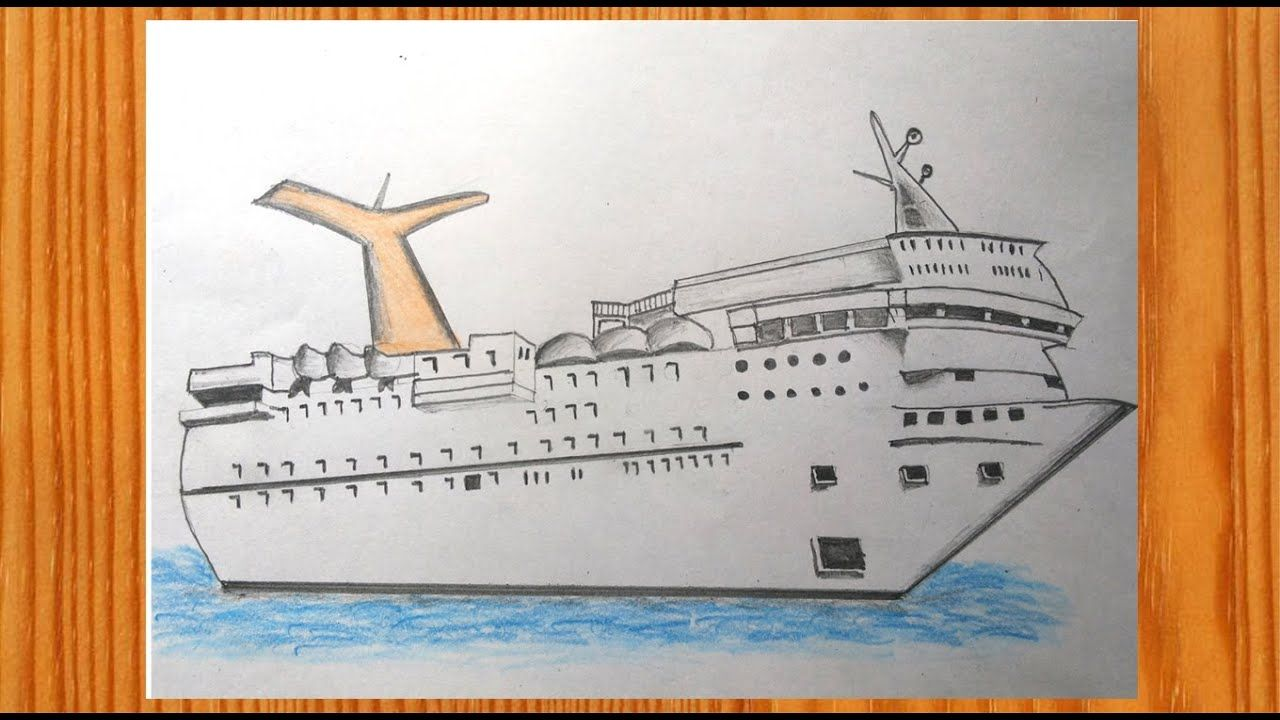 Ship Drawing Easy Step By Step Tutorial Easy Drawings Ship Drawing Drawing For Kids