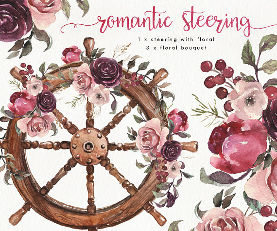 Watercolor Romantic Steering Boho Floral Clipart Wedding