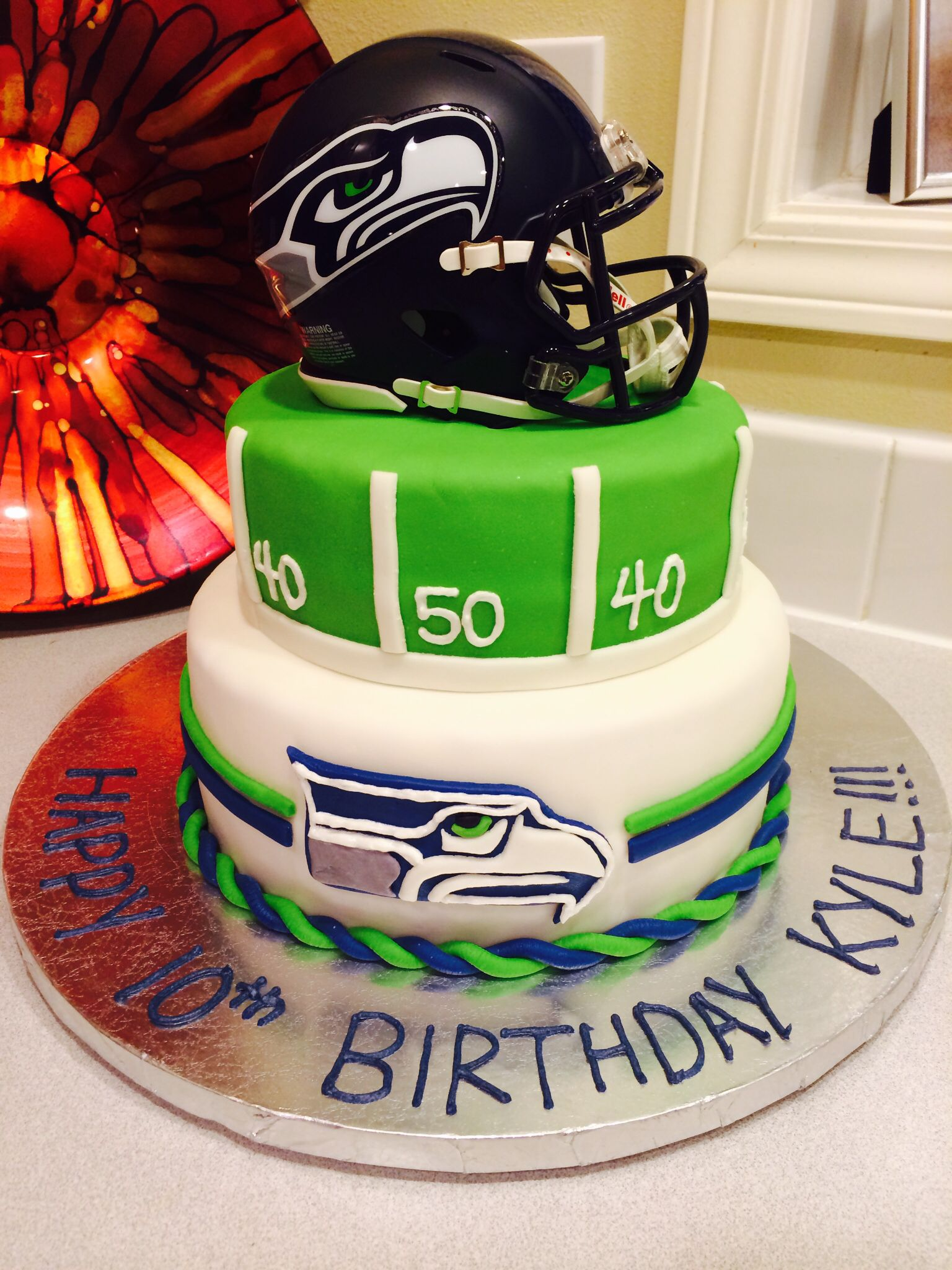 Kyle S Seahawks Cake With Images Sports Birthday Cakes