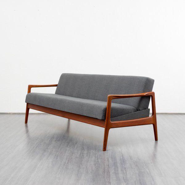 1960s Three Seater Couch Teak Karlsruhe Bettsofa