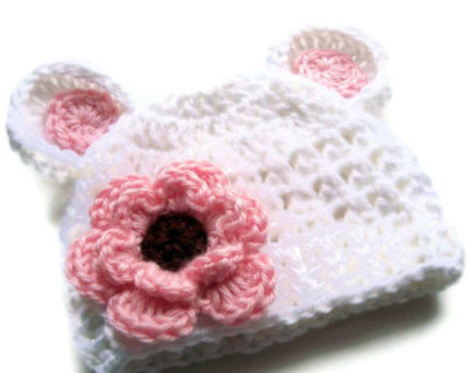 Baby Girl Hat, Baby Hat, Infant Winter Hat, Crochet Hat with Ears ...