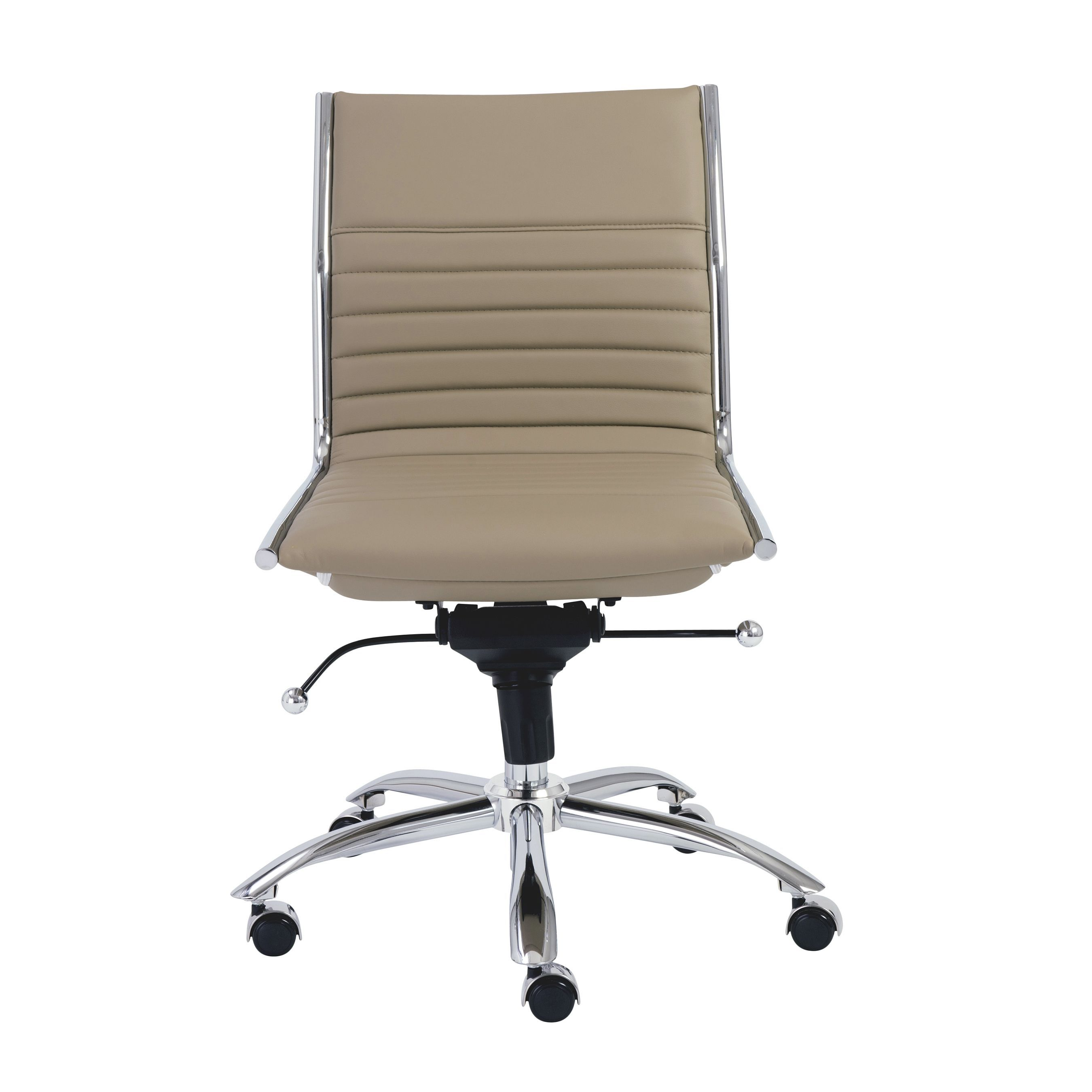 Euro Style Dirk Taupe Chrome Grey Low Back Armless Office Chair