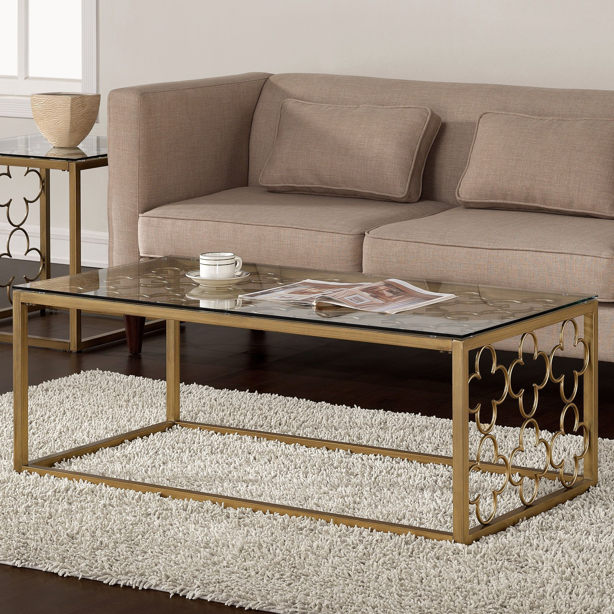 Quatrefoil goldtone metal and glass coffee table by i love living sofa end tables beautiful Gold metal coffee table
