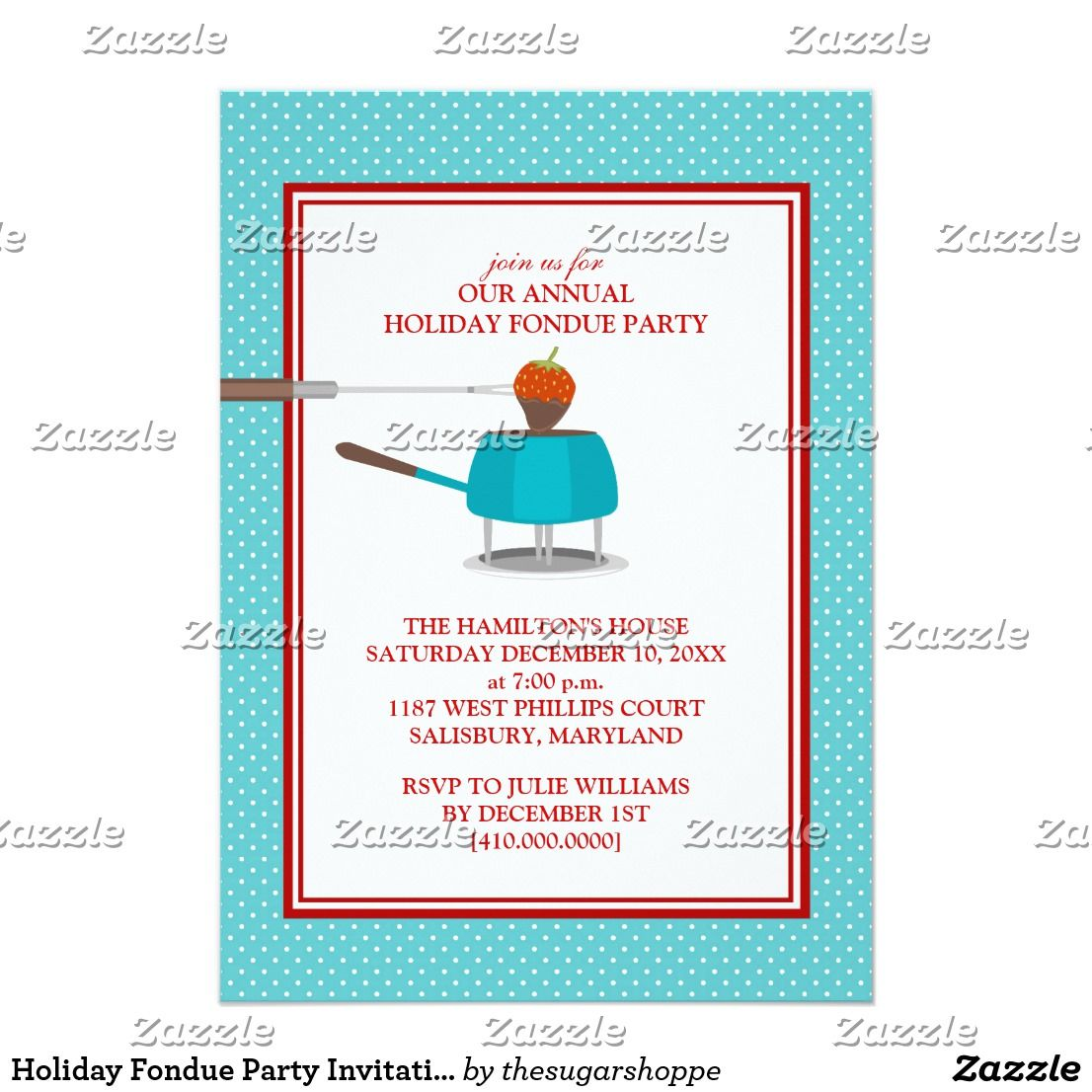 Holiday Fondue Party Invitations | Invitation cards | Pinterest ...