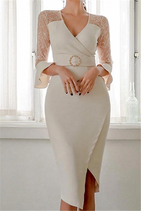 Casual Sexy Show Thin V Neck Lace Splicing Maxi Dresses