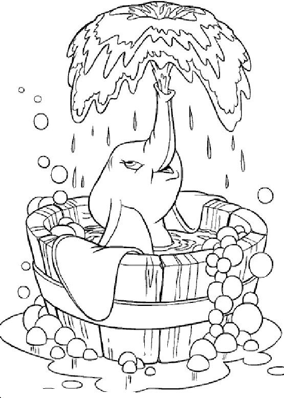Dumbo Was Taking A Shower Coloring Pages