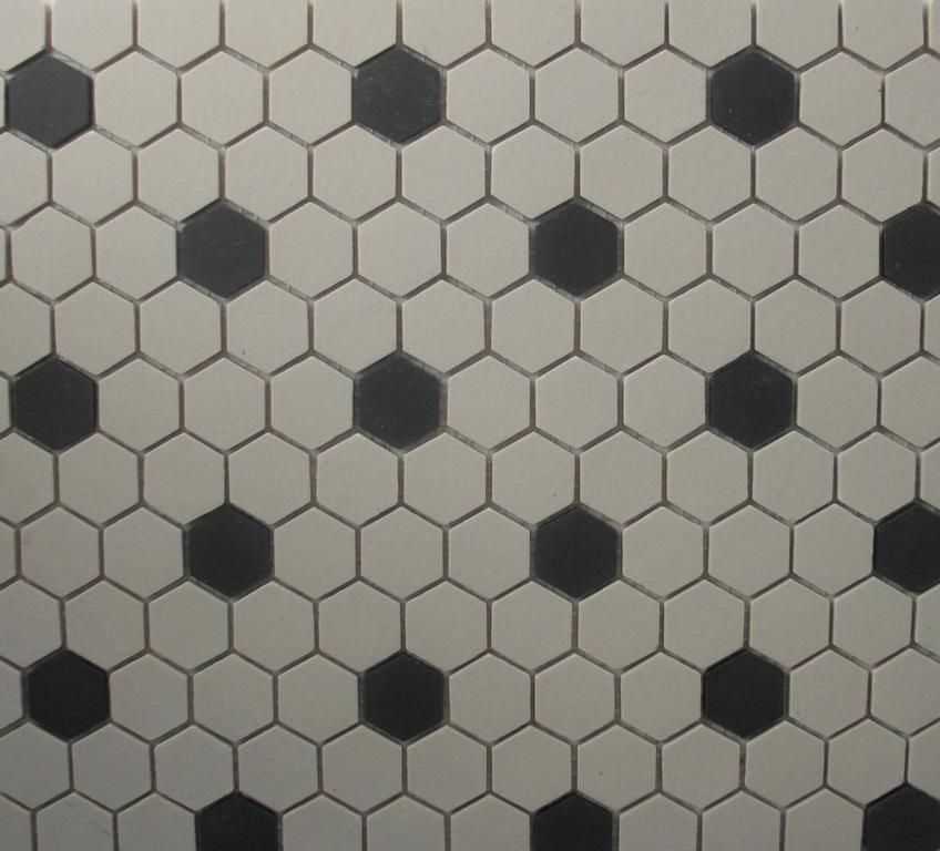 Hexagon Tile White & Black Unglazed 1 Inch Mosaic Old World By Classic Tile & Marble Inc