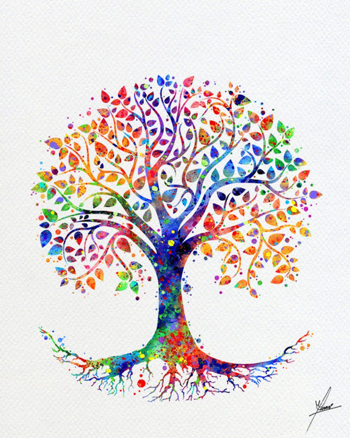 Tree Of Life Watercolor Print Wedding Gift Archival Fine Art Etsy Watercolor Print Tree Art Art