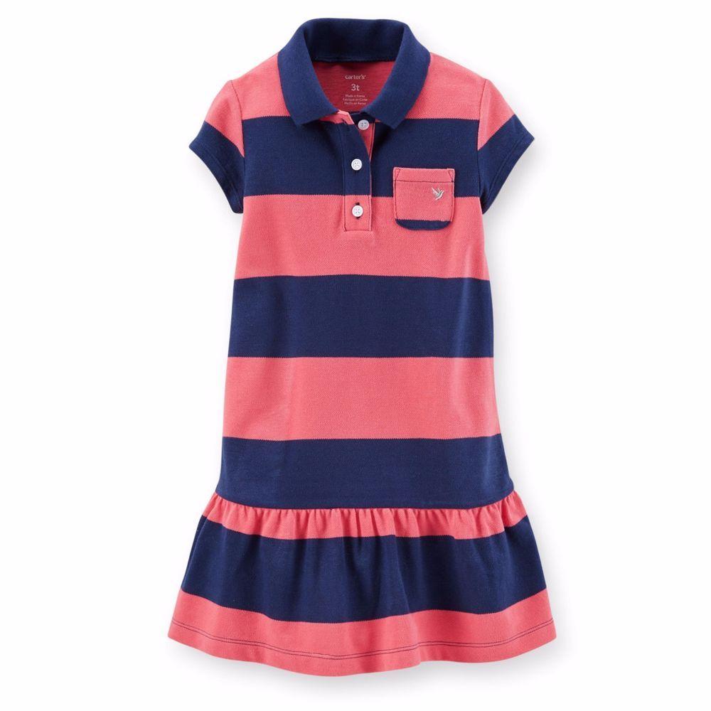 Carter's Toddler Girls 3T Blue Coral Cotton Pique Polo Drop-Waist Dress NWT  #Carters #DressyEveryday