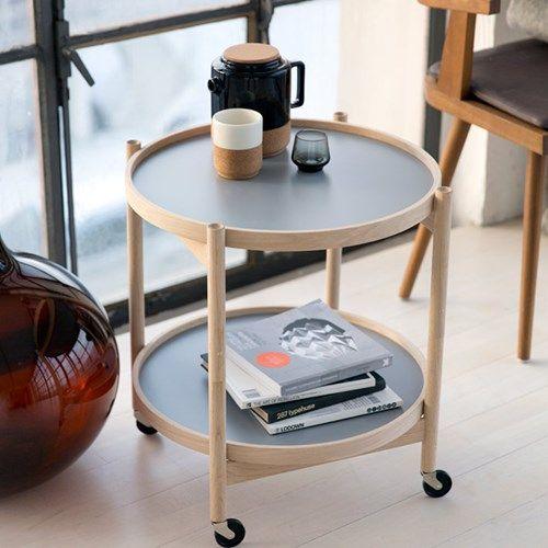 Krüger rullbord, ø60 cm - bok, blå/vit - Soffbord & småbord – Möbler från Svenssons i Lammhult