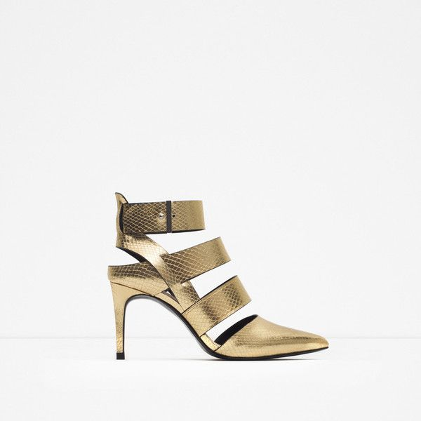 Zara High Heel Court Shoe With Straps ($70) ❤ liked on Polyvore featuring shoes, pumps, gold, strap pumps, strap shoes, strappy pumps, zara footwear and zara court shoes