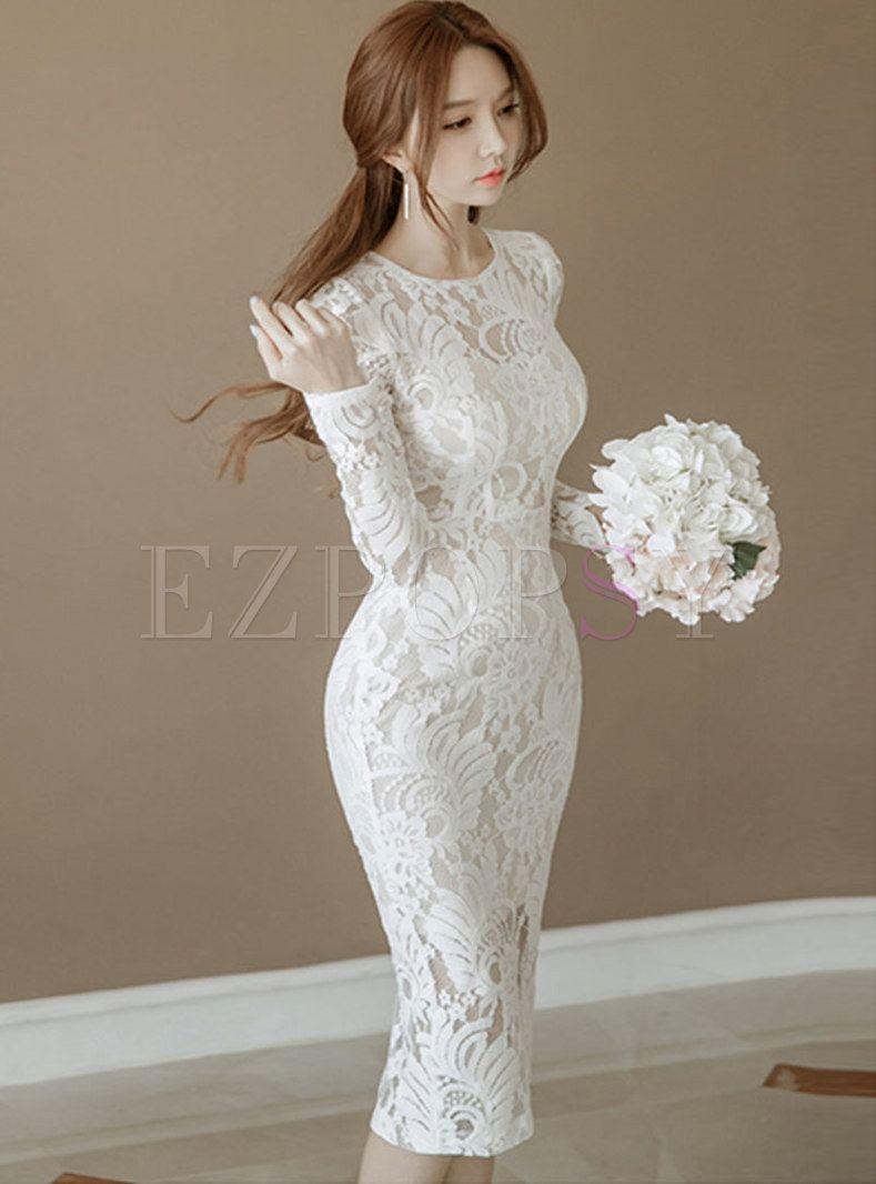 White Lace O Neck Long Sleeve Bodycon Dress Women Lace Dress Lace Dress Dresses [ 1066 x 789 Pixel ]