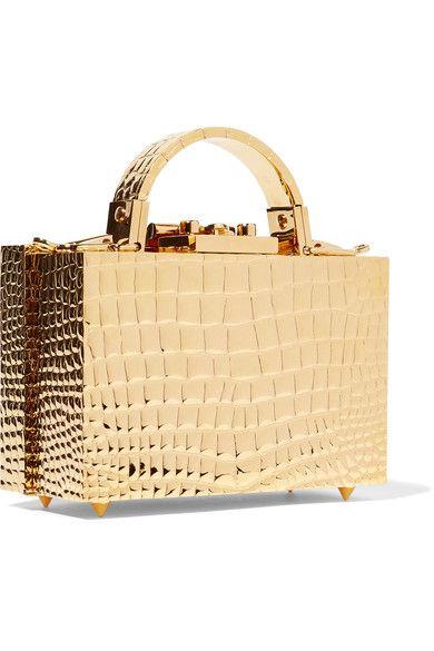 be0f16ed791c Mark Cross - Grace Mini Croc-effect Gold-plated Shoulder Bag ...