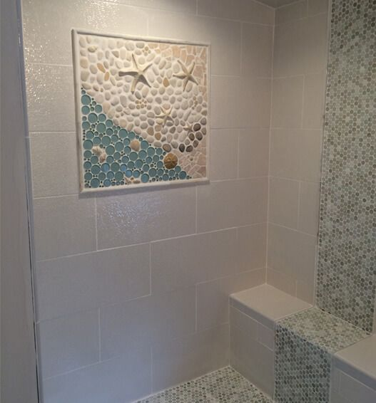"""This large mosaic mural was created based off our """"As The Tide Goes Out"""" mural…"""