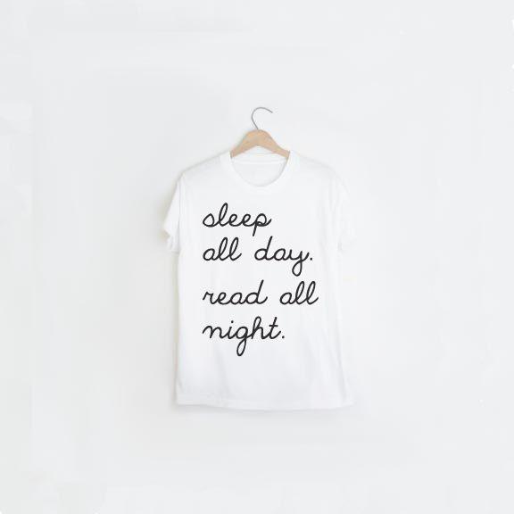 White Unisex Typography T Shirt - Gift for Book Lover - Gift Idea - Black & White Summer T - Sleep All Day Read All Night T Shirt - Unisex T (26.00 USD) by alphonnsine