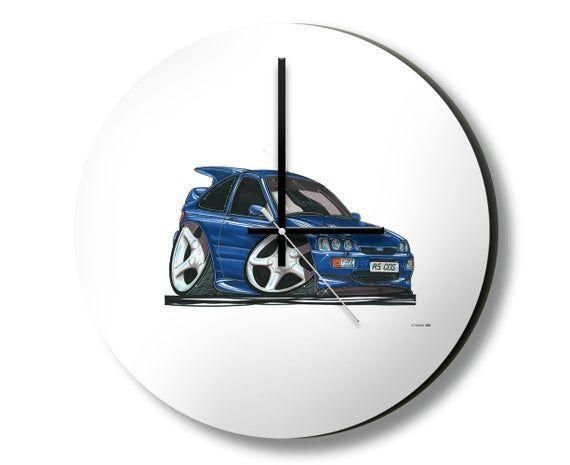 Ford Cosworth Caricature Koolart Hanging Wall Clock - 32cm - Handmade - Silent Sweep movement - Non