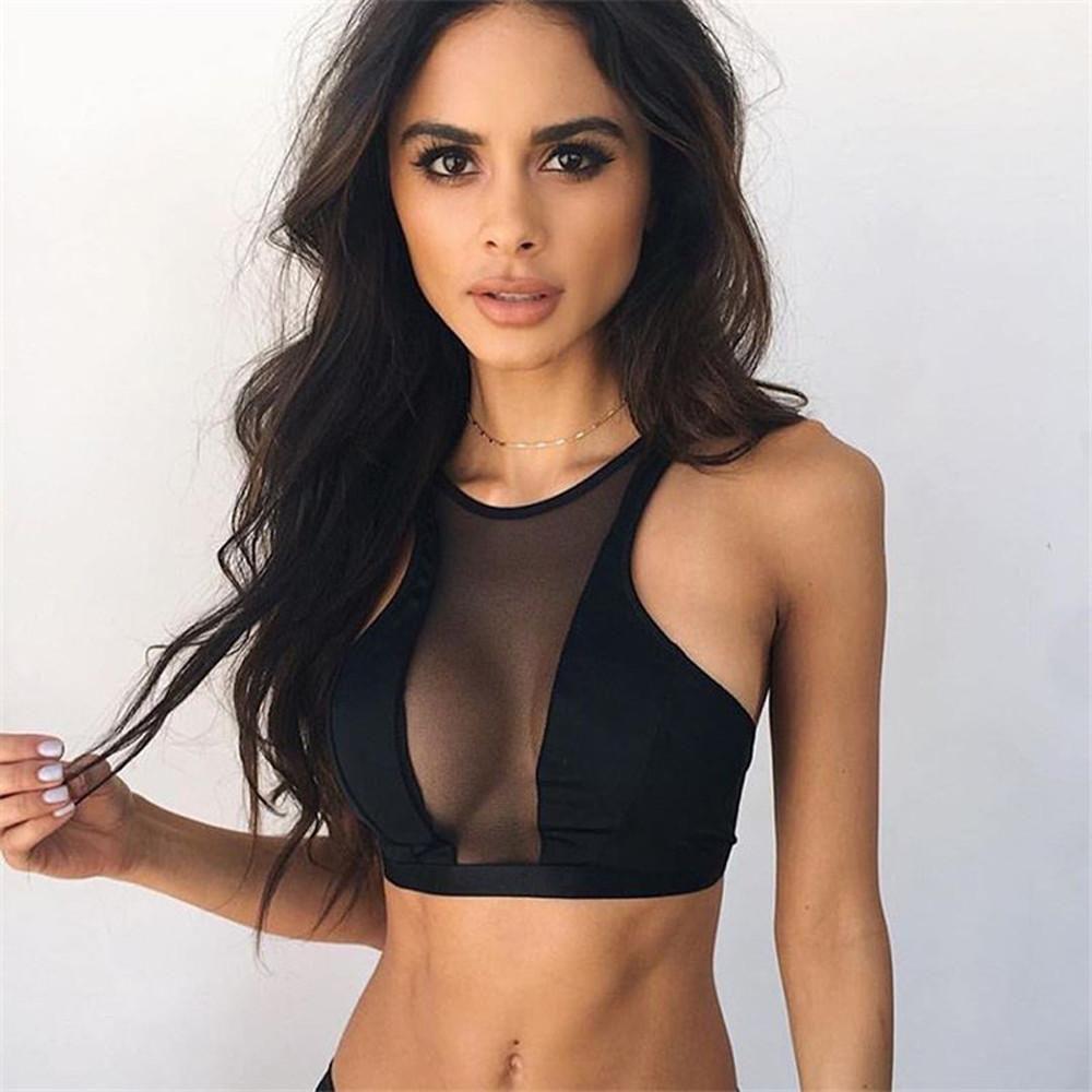 Summer Women Transparent Mesh Bralette Sheer Crop Top T-Shirt Blouse Tee Tops