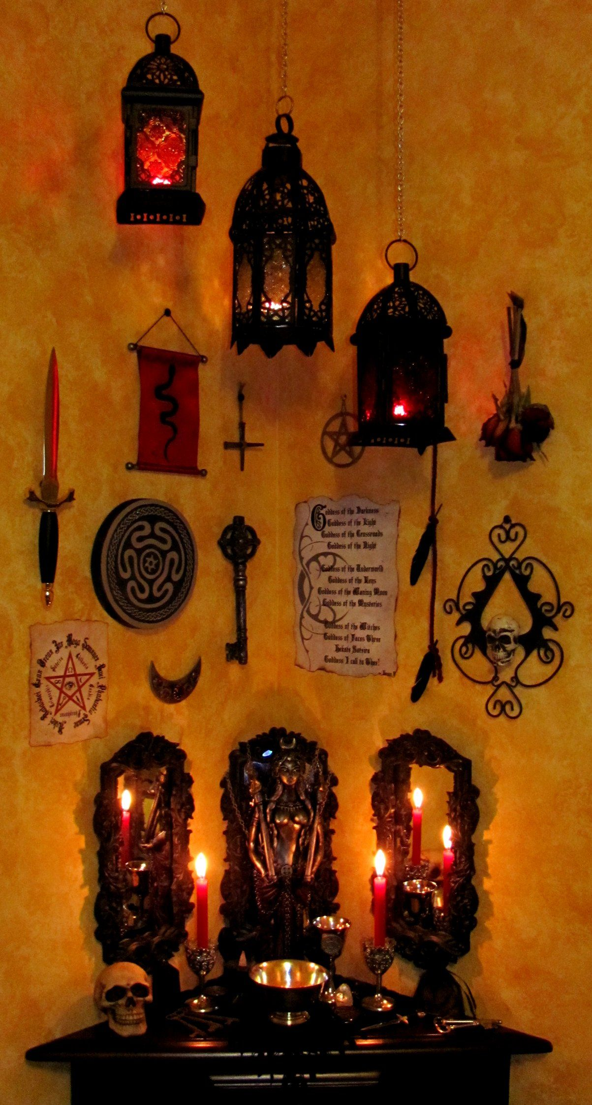 tools on the wall above the altar great idea right where you need them