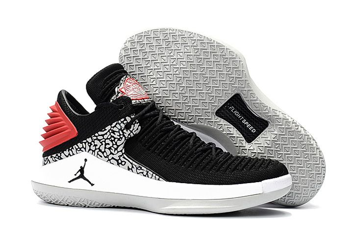2018 Air Jordan 32 Low Elephant Print Black White Red On Sale
