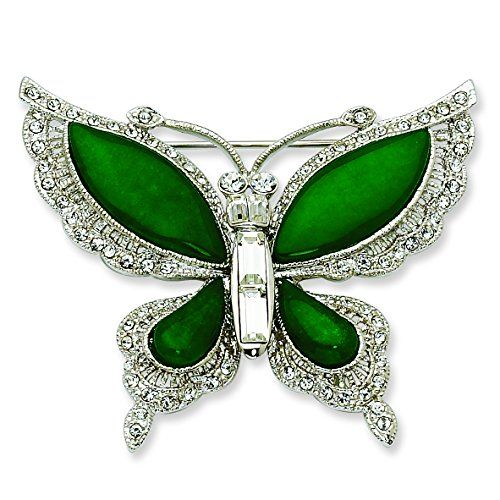 63% Off was $205.82, now is $75.76! Silver-Tone Swarovski Crystal Simulated Jade Butterfly Pin