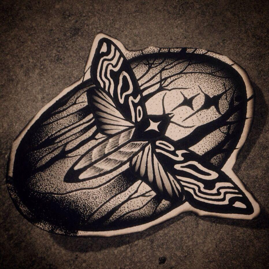 Moth/ mothtattoo/ blackwork/ blacktattoo/ blackworkers/ dotwork/ dottattoo/ tattooflash/ rohatattoo