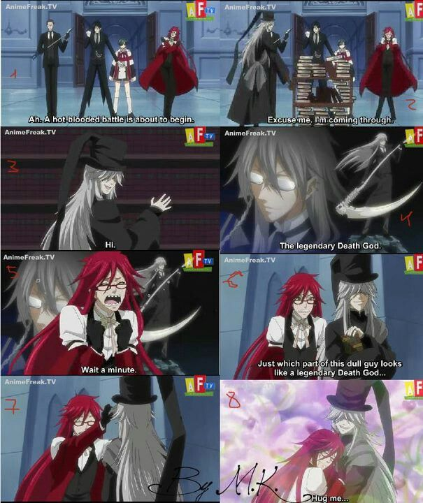 Puhahaha Grell Discovering That The Undertaker Is A Bishie His Reactionrofl Kuroshitsuji Was Awesome