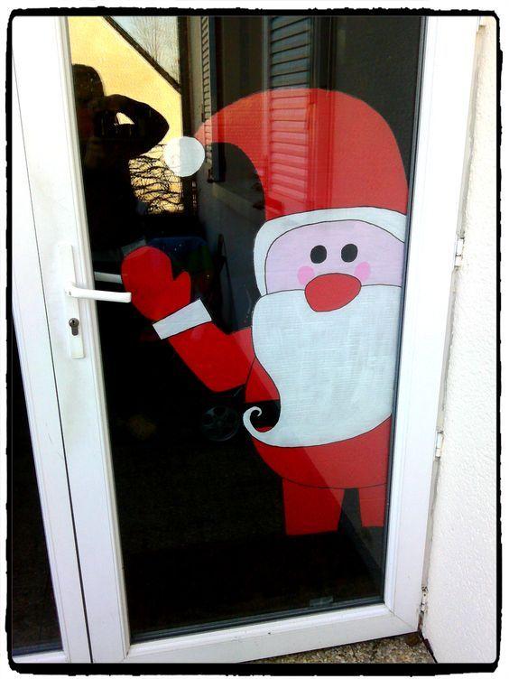 un père noel de bienvenu à accrocher à la porte du0027entrée ou fenetre - peinture porte et fenetre