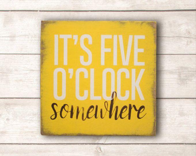 Beach Wall Art; Beach Wood Sign; Beach Home Decor; It\'s Five O\'Clock ...