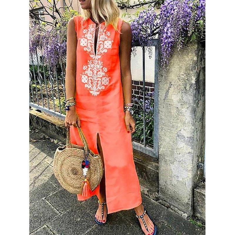 14703f58d78a Women Shift Daytime Sleeveless Casual Slit Geometric Dress   hot ...