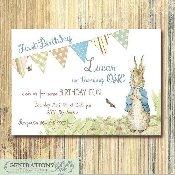 Vintage Peter Rabbit Birthday Invitation Printable Digital File